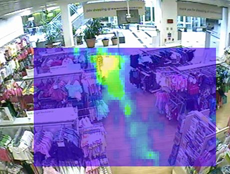 Heat map of dwell times in a store