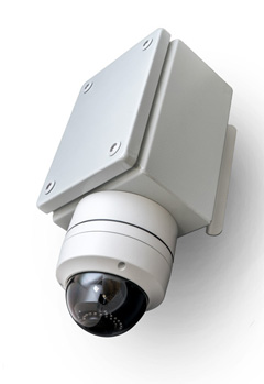 CCTV camera built into IoT smart city system for counting pedestrians, bicycles and vehicles.