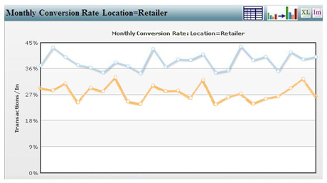 Monthly graph of sales conversions