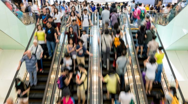 Counting people on and escalator in shopping mall