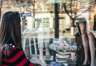 Looking into shop window