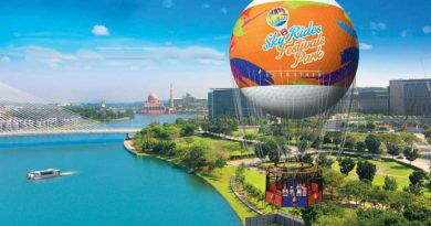 Counting people entering theme park and riding in helium balloon